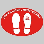 Maintain Distance (Meters) - Oval  Floor Decal